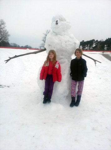 Winter Camp snowman at Camp Storer